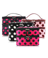 [Bag] Woman Dot Polka Double Deck Zipper Comestic Make Up Bag for Travel - $10.99