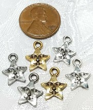 STAR WITH FACE FINE PEWTER PENDANT CHARM 10.5x14x2mm image 2