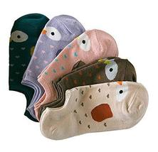 PANDA SUPERSTORE 5 Pairs Comfortable Cotton Socks Thin Section Installed Ms. Sum