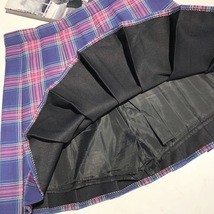 Purple Plaid Skirt Women Girls Plaid Pleated Mini Skirt Outfit Plus Size image 2
