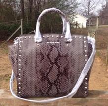 Michael Kors Selma Stud Dark Slate Large Tote Handbag Purse Leather - $365.00