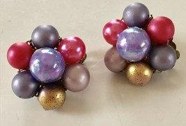 Vintage 50's Mid-Cent Purple, Pinks & Gold Luster Cluster Earrings Signe... - $12.19