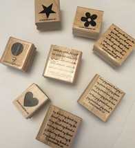 Stampin Up Mini Messages Wood Stamp Set Of 8 Stamps 2004 - $7.67