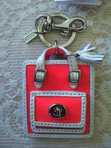 NWT/COACH/BRIGHT CORAL SNOW/KEY FOB/KEY CHAIN/KEY RING/63836 - $80.00