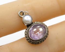 925 Sterling Silver - Vintage Amethyst & Pearl Drop Pendant - P1737 - $23.38