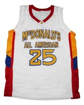Derrick Rose #25 McDonalds All American New Men Basketball Jersey White Any Size image 1