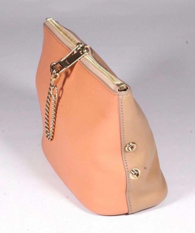 Chloe Camel & Coral Leather Baylee Clutch Handbag Purse