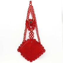 Vintage Red Hand Crocheted Hanging Good Luck Wishbone Pin Cushion Thimbl... - $12.99