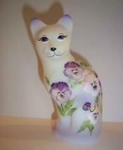 Fenton Glass Purple & Pink Pansies Stylized Cat Kitten Ltd Ed M Kibbe #1/23 - $222.62