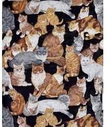 "Novelty Cat Print Bed Spread Blanket Cover Quilt Patchwork Fringe 74"" x 92"" - $34.64"