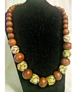 Vintage Brown Wood Bead with Green and White Geometric Bead Necklace - $34.00