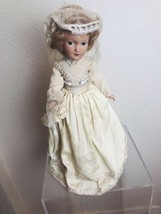 Antique Composition Bride Doll 16-in Satin Dress Tulle Veil Bouquet Slip... - $45.54