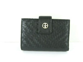 Giani Bernini $50 NWT Weave Frame Indexer Black Faux Leather Wallet Snap... - $32.62