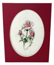 "Needlepoint Petit Point Pink Red Roses Floral Finished 14"" x 11"" - £41.65 GBP"