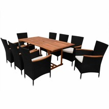 vidaXL Outdoor Dining Set 17 Pieces Poly Rattan Wicker Black Seat Garden... - $589.99