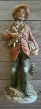 """Homco Man Carrying Wood ~ 10"""" Tall Bisque Porcelain Figurine ~ No. 8884 ~ Japan - $49.50"""