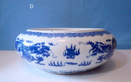 Vintage blue & white porcelain bonsai, bulb, flower pot 'dragon' motif 5 c - $51.96