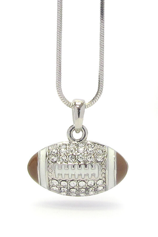 Primary image for Football with Crystals Pendant Necklace White Gold NEW