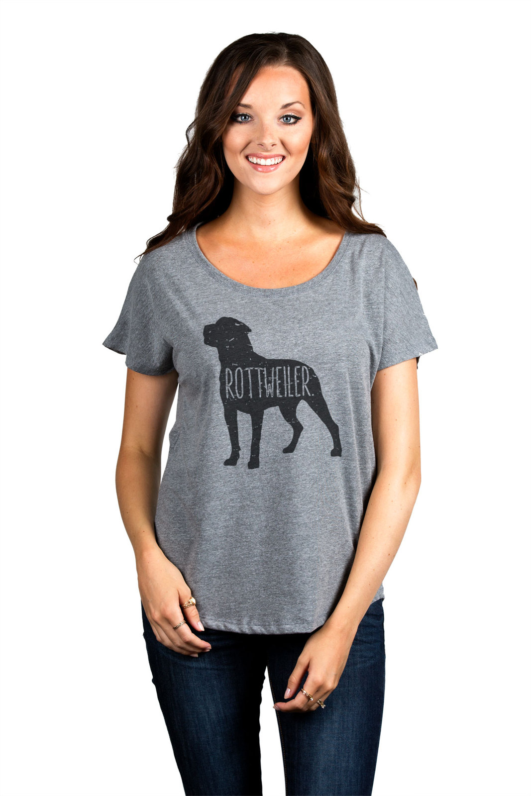 Thread Tank Rottweiler Dog Silhouette Women's Slouchy Dolman T-Shirt Tee Heather