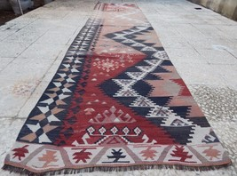 12' Faded Pale Runner Vintage Woven Extra Long Kilim Rug Entryway Hall R... - $372.72