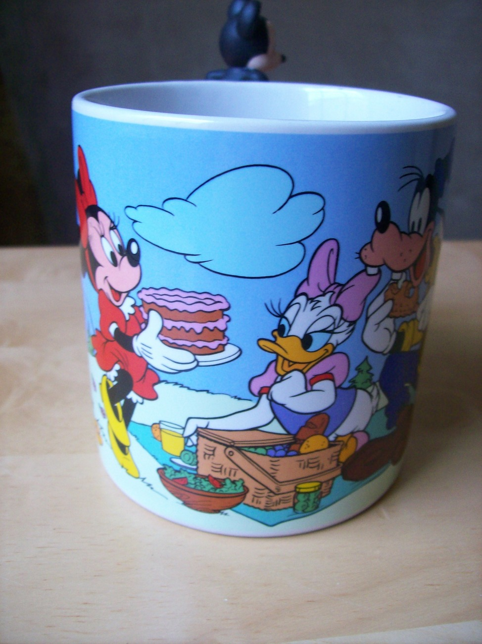 Primary image for Disney 1980's Mickey and Friends Picnic Coffee Mug with Mickey Figurine