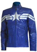 The Winter Soldier Blue Captain America Leather Jacket | LJM - $219.00