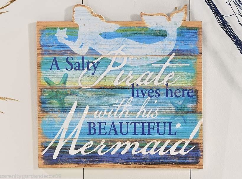"Nautical MDF Wall Plaque  14"" x 14"" - ""Salty Pirate"" Mermaid Design"
