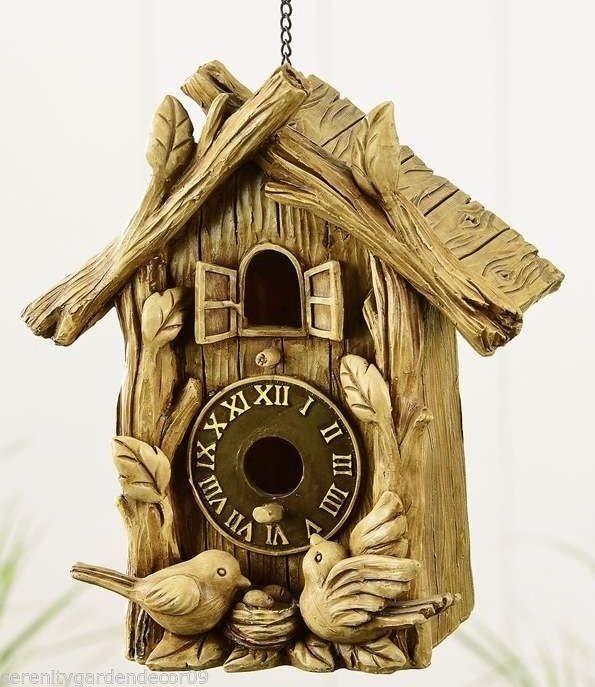 "10"" Woodland House Design Birdhouse Patina Finish Polyresin"
