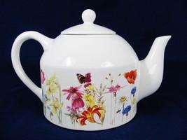 MARJOLEIN BASTIN Vintage 1997 Teapot WILDFLOWER MEADOW Pattern 4 Cups - $29.69