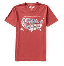 New Lucky Brand Budweiser America Map Retro Logo T-Shirt Bud King of Bee... - $20.00