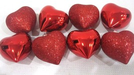 "Valentines Day Shiny Glitter Red Hearts 2.5"" Ornaments Decorations Decor... - $16.99"