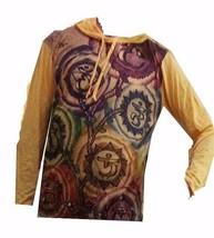 Men Yoga Hoodie Om Hindu Ganesh Buddha India short sleeve WEED M HIPPIE ... - $17.81