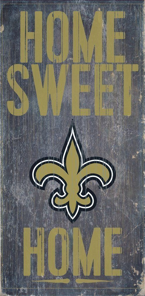 "NEW ORLEANS SAINTS HOME SWEET HOME WOOD SIGN and ROPE 12"" X 6""  NFL MAN CAVE!"