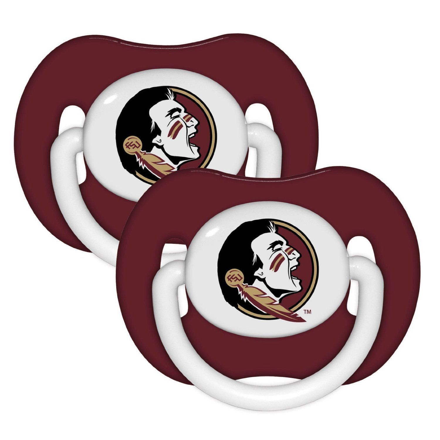 FLORIDA STATE SEMINOLES 2-PACK BABY INFANT ORTHODONTIC PACIFIER SET NCAA