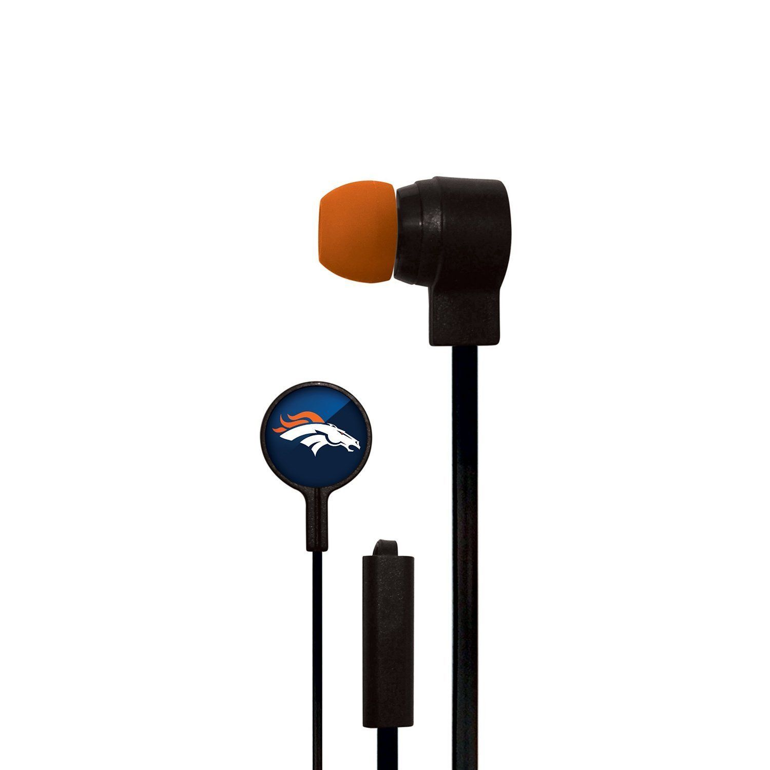 DENVER BRONCOS STEREO EAR BUDS  by MIZCO  HANDSFREE MIC NFL FOOTBALL