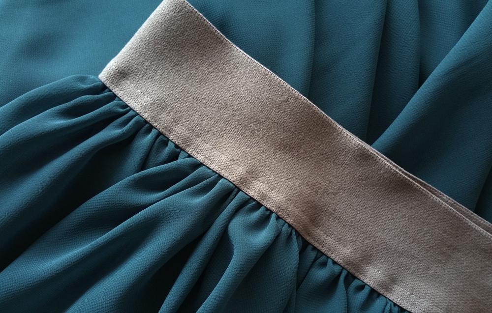 Women maxi chiffon skirt bluegreen 7