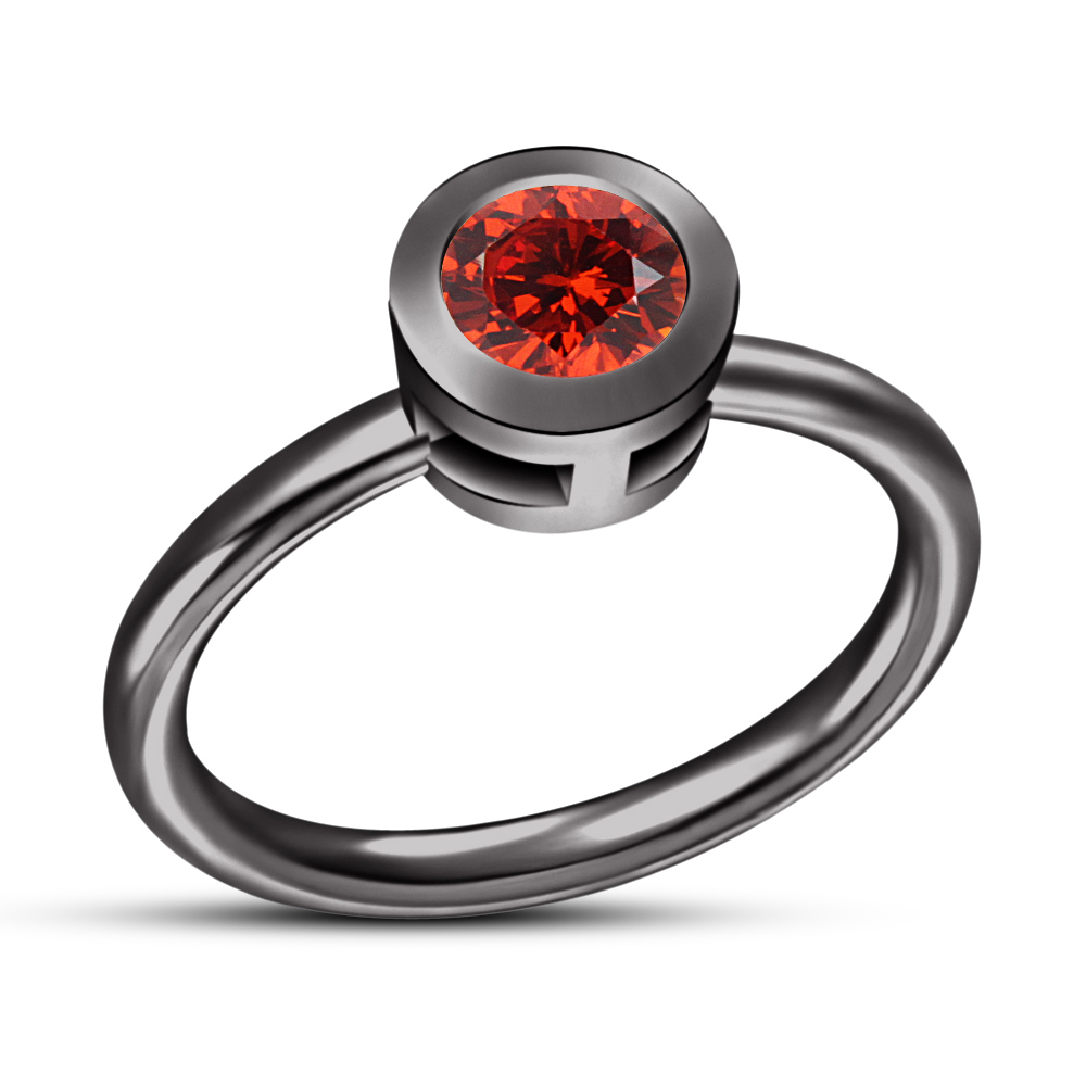 Primary image for Solid 925 Silver RD Red Garnet 18k Black Rhodium Finishing Solitaire Ring
