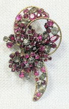 Beautiful Vintage Signed Vendome Ruby Color Rhinestone Flower Brooch Pin Pendant - $69.99