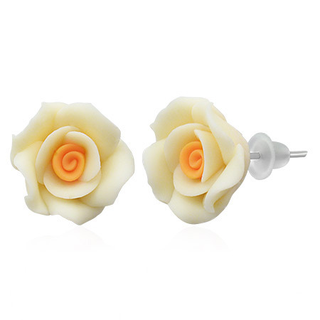 Fimo 3D Rose Stud Earrings- Creamy White w/Orange Center