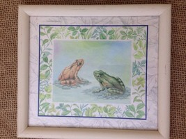 Frogs Sitting Nature Puddle Spring Green Plants Leaf 8x9 Art Wall Hanging - $9.85
