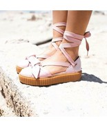 Puma Fenty By Rihanna Bow Creepers Platform Ballerina Lace Ties Pink 8 D... - $54.59