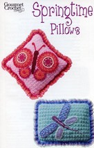 Springtime Pillows Dragonfly & Butterfly NEW Gourmet Crochet Pattern Lea... - $6.27