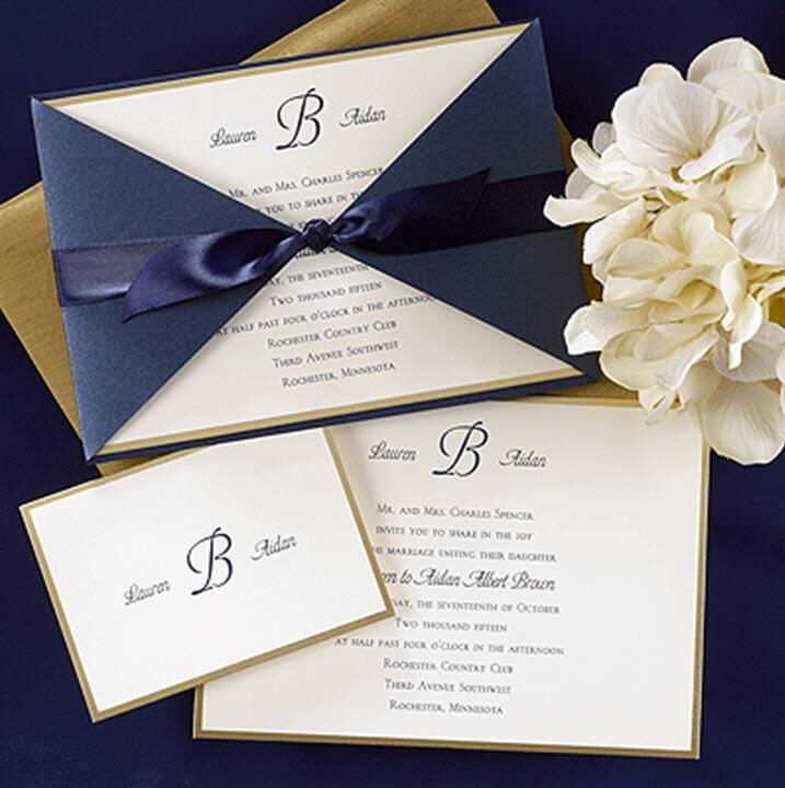 Navy Shimmer Wrap Ribbon Wedding Invitations Invitation