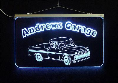 Vintage Truck Garage, Man Cave, LED Acrylic Sign, Custom LED Sign