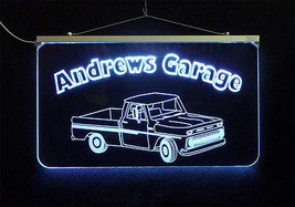 Vintage Truck Garage, Man Cave, LED Acrylic Sign, Custom LED Sign - $140.00