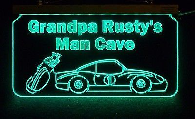 Personalized Man Cave Sign, Bar Sign, Custom LED Sign, Golf Clubs, Race Car