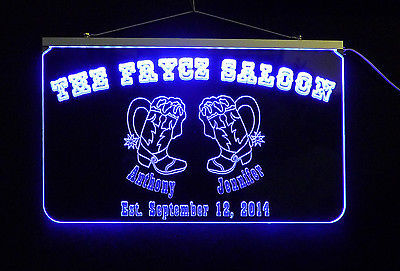 """17.25""""x10"""" Multicolor Personalized Bar Sign, Wedding Sign, Family name sign,"""