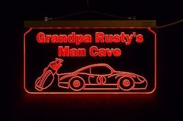 Personalized Man Cave Sign, Bar Sign, Custom LED Sign, Golf Clubs, Race Car image 2