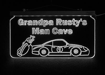 Personalized Man Cave Sign, Bar Sign, Custom LED Sign, Golf Clubs, Race Car image 5