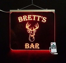 Personalized Bar Sign, Deer Head, Man Cave, Men, Multi-Color Changing sign - $155.00